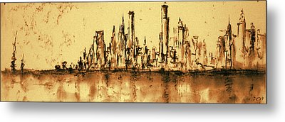 New York City Skyline 79 - Water Color Panorama Metal Print by Art America Gallery Peter Potter