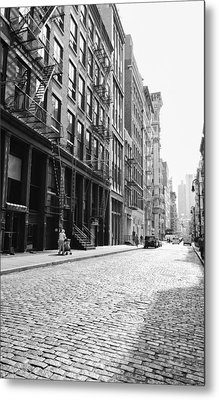 New York City Afternoon - Cobblestones In The Sunlight Metal Print by Vivienne Gucwa