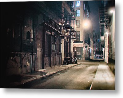 New York City Alley At Night Metal Print by Vivienne Gucwa