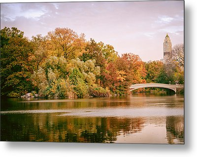 New York City - Autumn - Central Park - Lake And Bow Bridge Metal Print by Vivienne Gucwa
