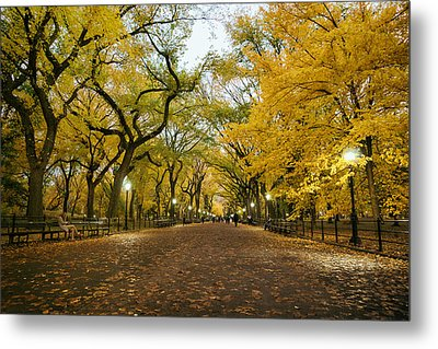 New York City - Autumn - Central Park - Literary Walk Metal Print