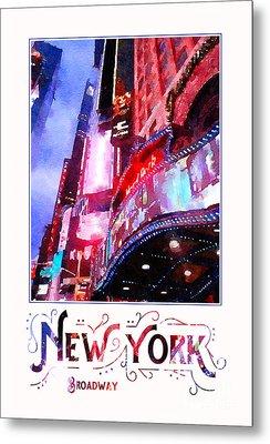 New York City Broadway Night Lights Digital Watercolor Metal Print