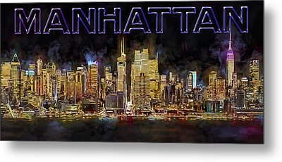 New York City Comes Alive At Sundown Metal Print by Susan Candelario