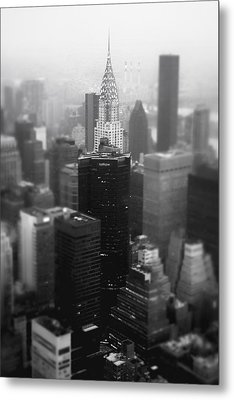New York City - Fog And The Chrysler Building Metal Print by Vivienne Gucwa