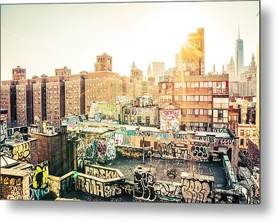 New York City - Graffiti Rooftops Of Chinatown At Sunset Metal Print