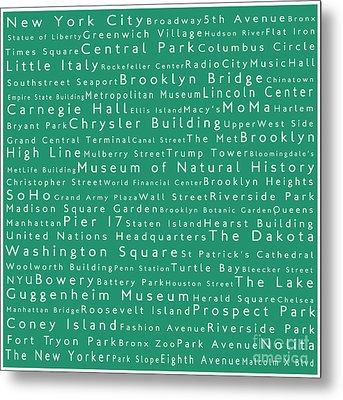 New York City In Words Algae Metal Print