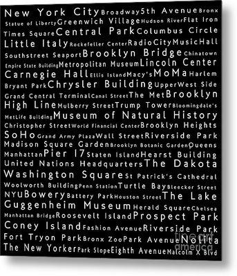 New York City In Words Black Metal Print by Sabine Jacobs