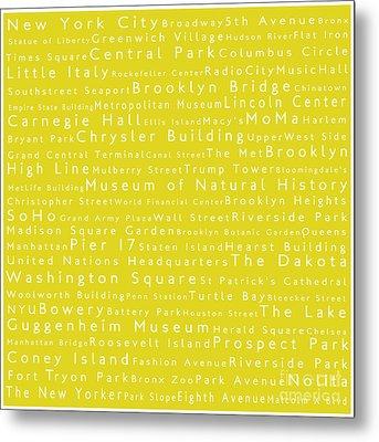 New York City In Words Yellow Metal Print