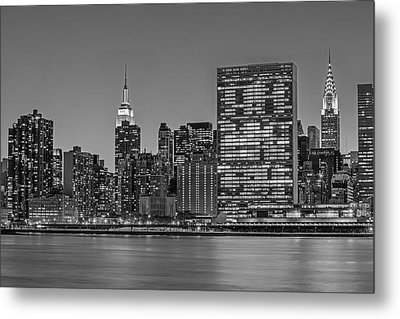 New York City Landmarks Bw Metal Print