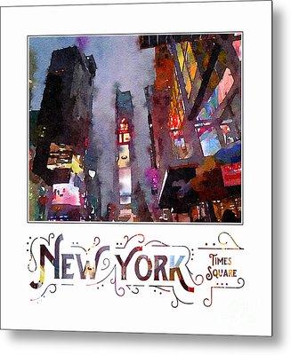 New York City Late Night Times Square Digital Watercolor Metal Print