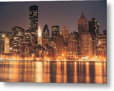 New York City Lights - Skyline At Night Metal Print by Vivienne Gucwa