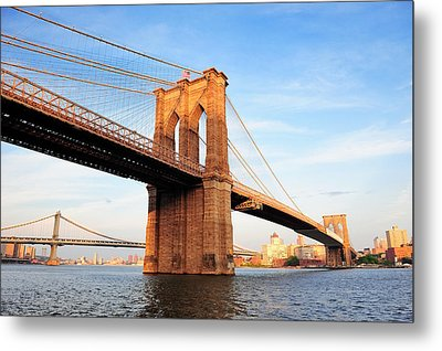 New York City Manhattan Brooklyn Bridge Metal Print