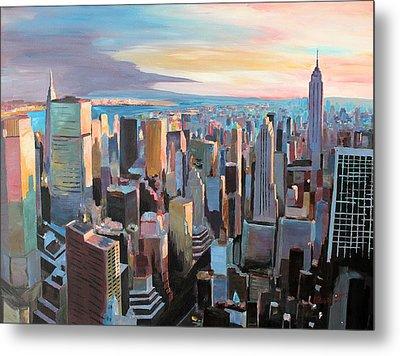 New York City - Manhattan Skyline In Warm Sunlight Metal Print by M Bleichner
