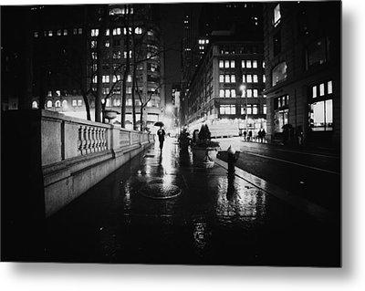 New York City - Night Rain Metal Print by Vivienne Gucwa