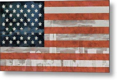 New York City On American Flag Metal Print