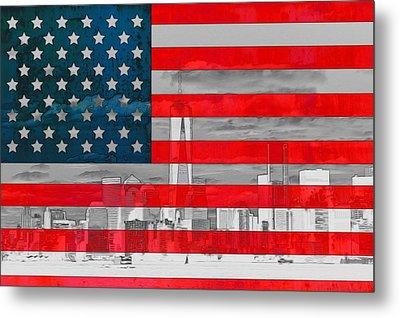 New York City Outline On American Flag Metal Print