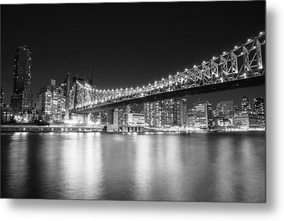 New York City - Queensboro Bridge At Night Metal Print by Vivienne Gucwa