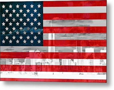 New York City Skyline And American Flag Metal Print