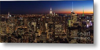 New York City Skyline At Dusk Metal Print by Mike Reid