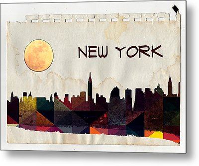 New York City Skyline Metal Print by Celestial Images