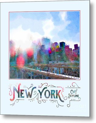 New York City Skyline Digital Watercolor Metal Print
