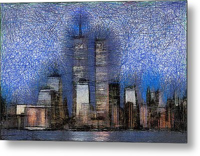 New York City Blue And White Skyline Metal Print by Georgi Dimitrov