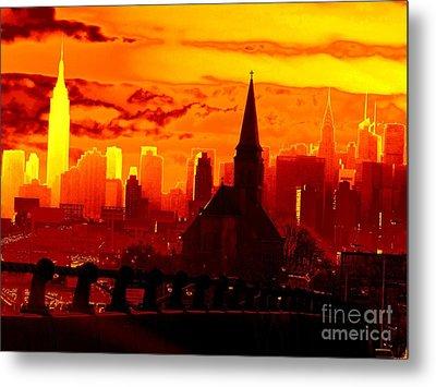 New York City Skyline Inferno Metal Print by Ed Weidman