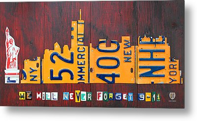 New York City Skyline License Plate Art 911 Twin Towers Statue Of Liberty Metal Print