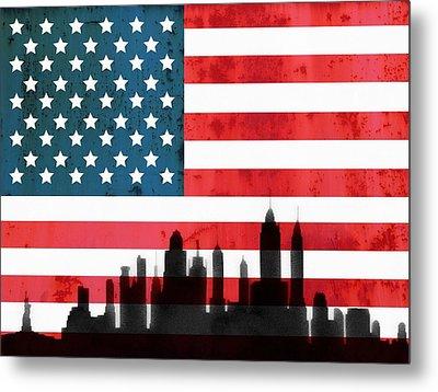 New York City Skyline On American Flag Metal Print