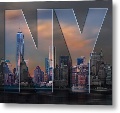 Metal Print featuring the photograph New York City Skyline by Steve Zimic