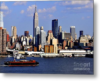 New York City Skyline With Empire State And Red Boat Metal Print by Kathy Flood