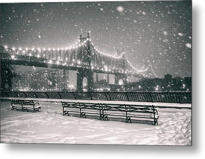 New York City - Snow At Night - Sutton Place Metal Print by Vivienne Gucwa