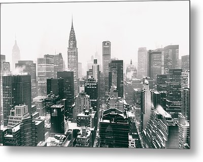 New York City - Snow-covered Skyline Metal Print