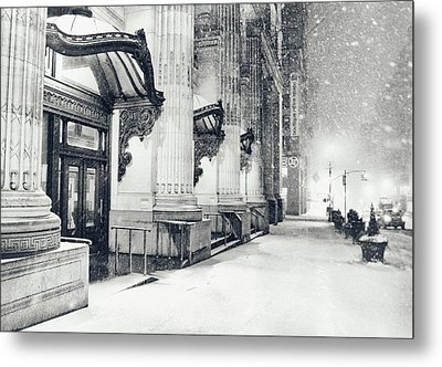 New York City - Snowy Winter Night Metal Print by Vivienne Gucwa