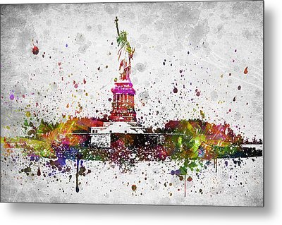New York City Statue Of Liberty Metal Print by Aged Pixel