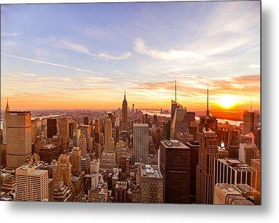 New York City - Sunset Skyline Metal Print