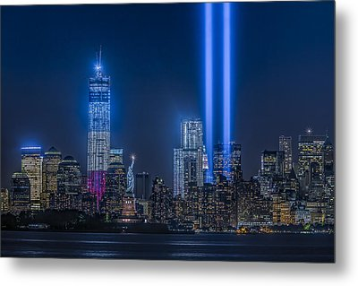 New York City Tribute In Lights Metal Print by Susan Candelario