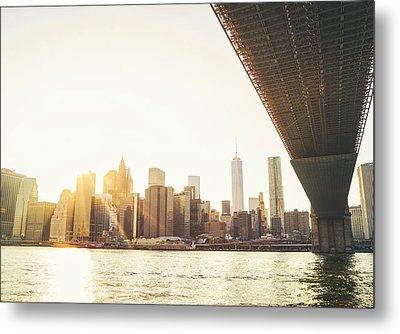 New York City - Under The Brooklyn Bridge - Skyline Sunset  Metal Print by Vivienne Gucwa