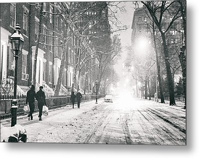 New York City - Winter Night In The Snow At Washington Square  Metal Print