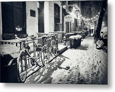 New York City - Winter Night In The Snow - East Village Metal Print
