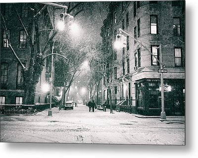 New York City - Winter Night In The West Village Metal Print by Vivienne Gucwa