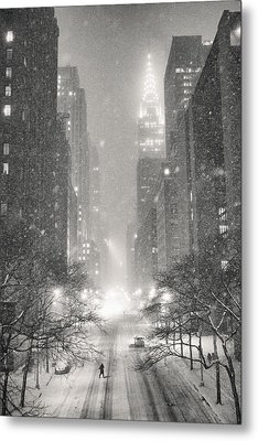 New York City - Winter Night Overlooking The Chrysler Building Metal Print by Vivienne Gucwa