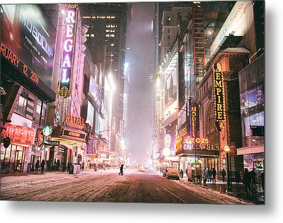New York City - Winter Night - Times Square In The Snow Metal Print