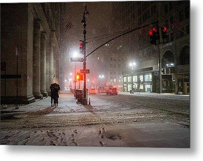 New York City Winter - Romance In The Snow Metal Print