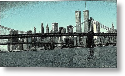 New York Downtown Manhattan Skyline - Blue Panorama Metal Print by Art America Gallery Peter Potter