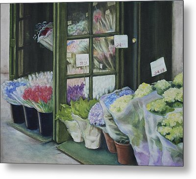 Metal Print featuring the painting New York Flower Shop by Rebecca Matthews