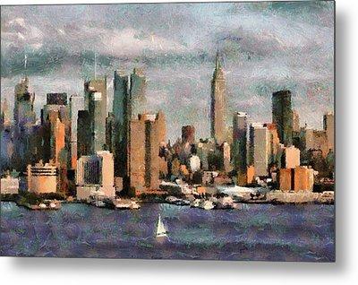 Cloudly Grey New York City Metal Print by Georgi Dimitrov