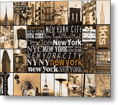 New York Life In Sepia Metal Print by Marilu Windvand