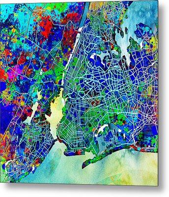 New York Map Abstract 3 Metal Print by Bekim Art