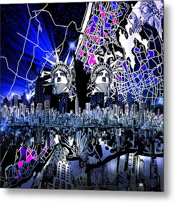 New York Map Abstract 4 Metal Print by Bekim Art